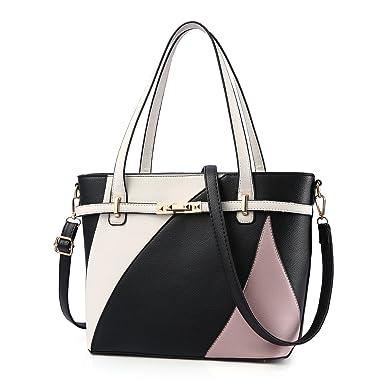 d0f49905774c Amazon.com  Top Handle Bags for Women Leather Tote Purses Handbags Satchel  Crossbody Shoulder Bag form Nevenka (Black)  Clothing