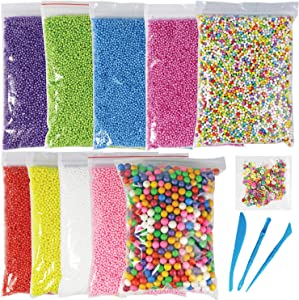 Millennial Essentials Foam Balls for DIY Slime, 11 Packs Styrofoam Decorative Slime Beads with Fruit Candy Slices and Tools for Homemade Slime Making, Arts & Crafts, Nail Art, Back to School Supplies