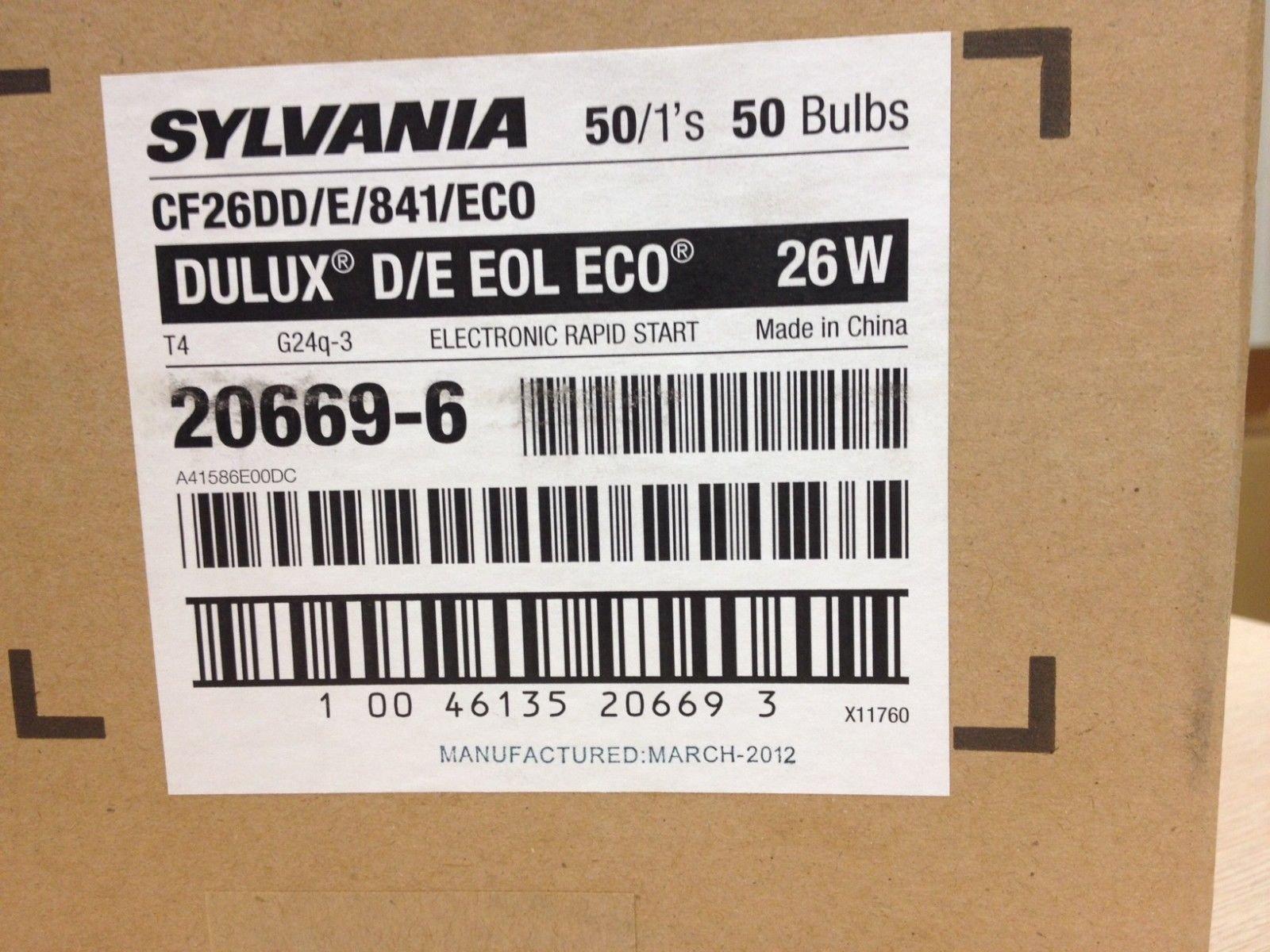 20 Sylvania 20669 Cf26DD/E/841/Eco Dulux D/E 26w 4-Pin G24Q-3 Cf Bulb