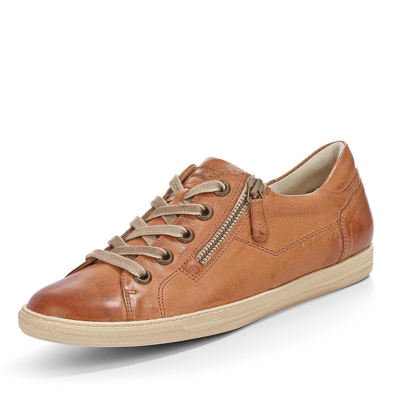 Paul Grün 4128-212 Damen Sneaker aus Edlem Glattleder Filigrane Kontrastnähte Cuoio