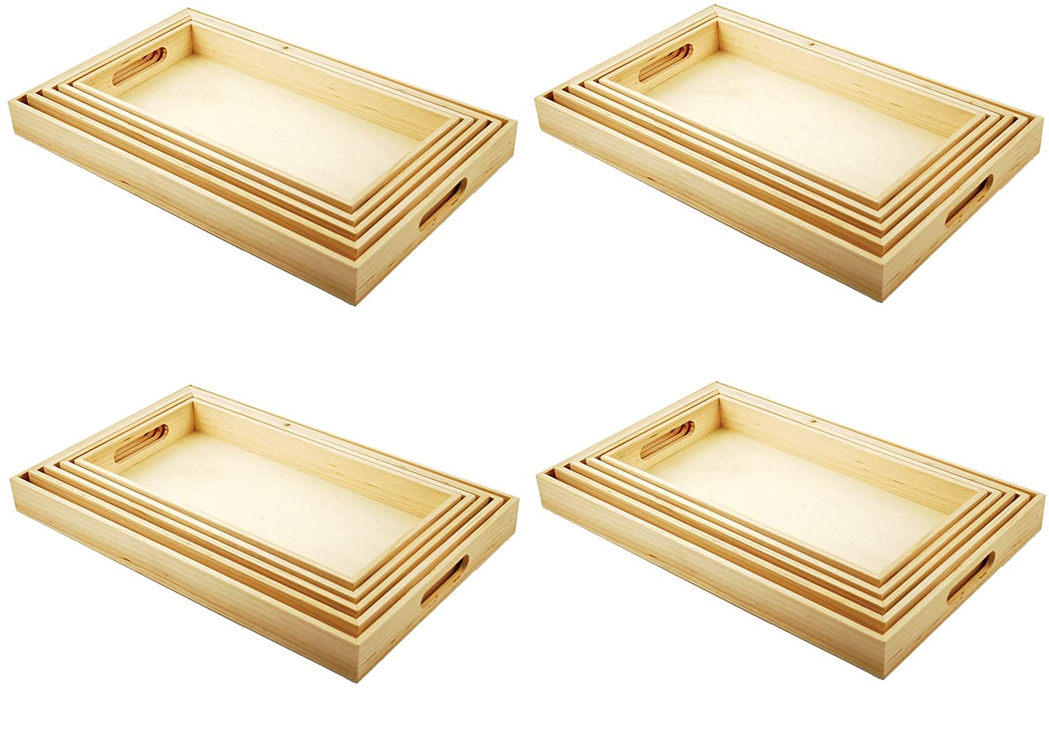 6-5//8 by 13-Inch to 10-1//8 by 16-1//8-Inch Multicraft Imports WS410 5-Piece Paintable Wooden Trays with Handles