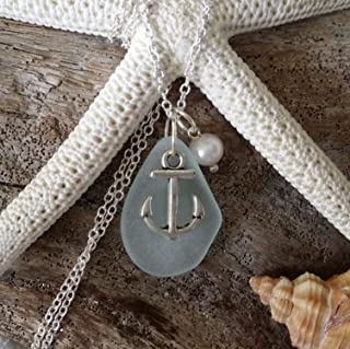 product image for Handmade in Hawaii, seafoam sea glass necklace,anchor charm, Freshwater pearl, (Hawaii Gift Wrapped, Customizable Gift Message)