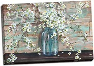 Gango Home Decor Beautiful Watercolor-Style Blossoms in A Mason Jar Floral Print by TRE Sorelle Studios; One 36x24in Stretched Canvas