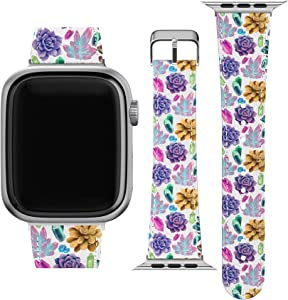 Lex Altern Band Compatible with Apple Watch Series 6 SE 5 4 3 2 1 38mm 40mm 42mm 44mm Cute Succulents Cacti Replacement Strap for iWatch Floral Wristband Vegan Leather Crystal Thin Cactus Print wh091