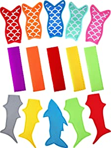 15 Pieces Popsicle Holder Bags Mermaid Shark Ice Pop Sleeves Freezer Reusable Popsicle Covers and Colorful Ice Pop Sleeves with Stitched Edges