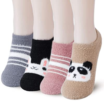 Slipper Socks for Women Anti-Slip 4 pairs Super Soft Warm Cozy with Cute Animal Low Cut Winter Fluffy Socks: Clothing