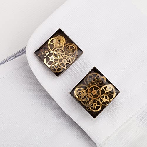 Square Antique Bronze 16mm Steampunk Cufflinks with Cogs and Gears 6x1ukBGEy
