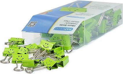 Rapesco Accesorios - Caja de 80 pinzas / clips de 19mm, hasta 75 hojas con sonrisas verdes: Amazon.es: Oficina y papelería