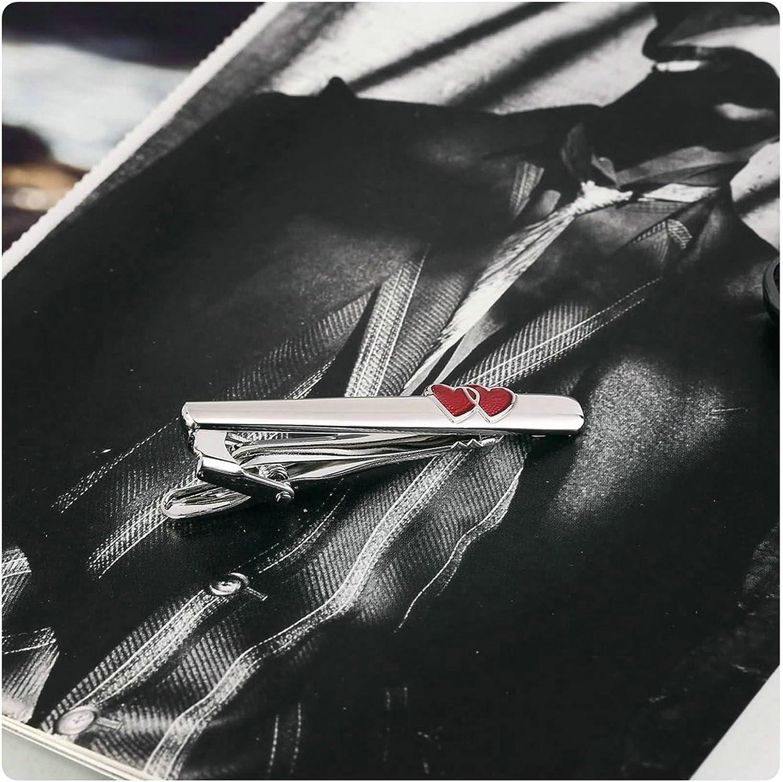 Aooaz Mens Tie Clips Stainless Steel Slim Skinny Tie Bar Red Heart Silver Wedding Wedding 0.8X5.5CM Dad Unique Gift Box Fancy Elegant