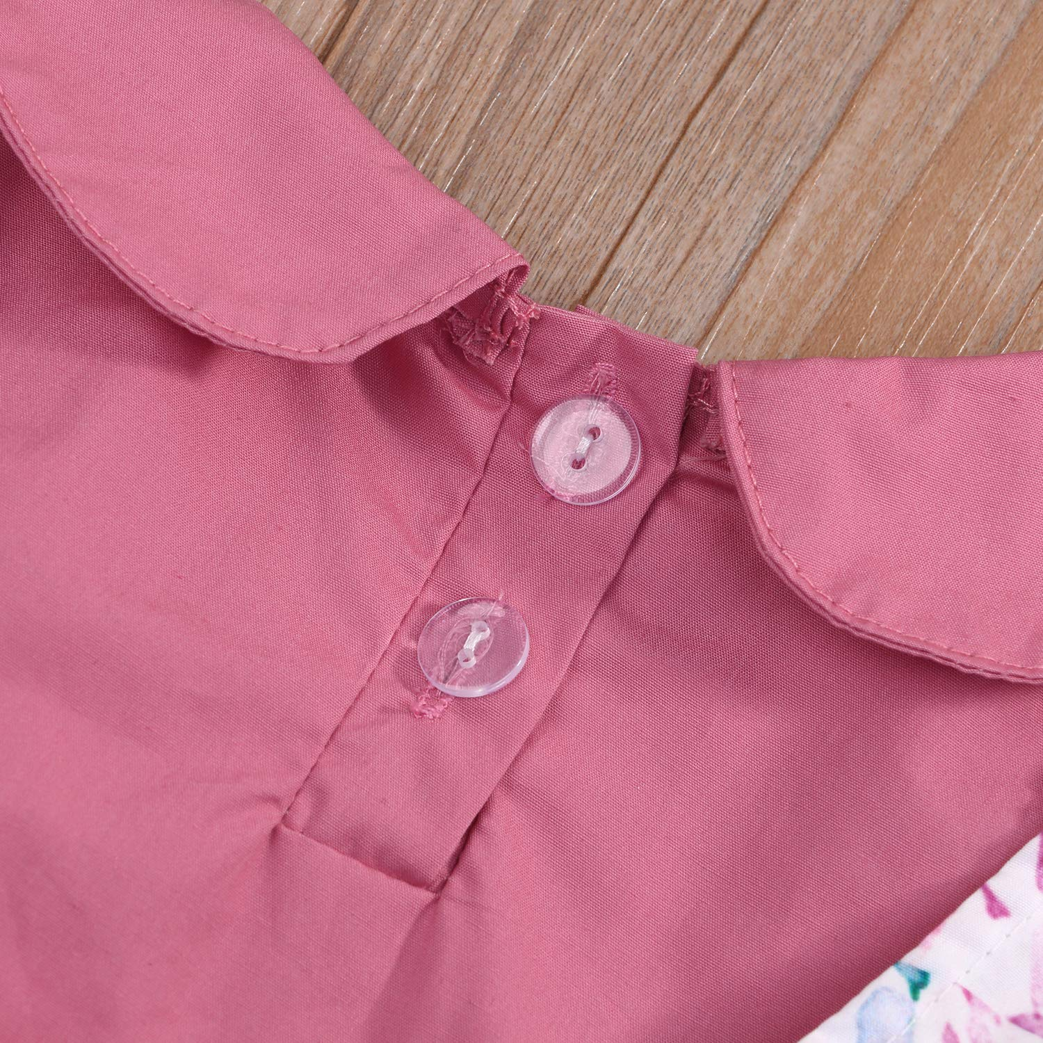 Strap Floral Dress Suits Toddler Baby Girls Clothes Set Short Sleeve Standing Collar Shirts