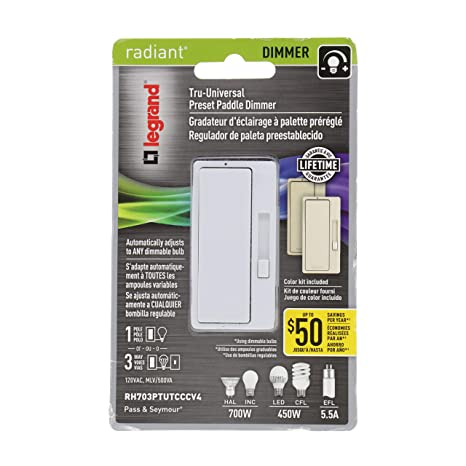 Legrand - Pass & Seymour radiant RH703PTUTCCCV4 TRU-UNIVERSAL Single-Pole/3-