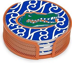 Thirstystone Stoneware Drink Coaster Set with Holder, University of Florida Swirls