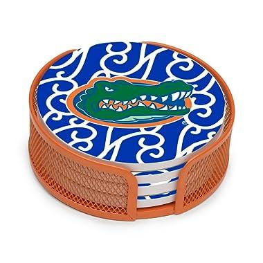 Thirstystone VUFL3-HA25 Stoneware Drink Coaster Set with Holder, University of Florida Swirls