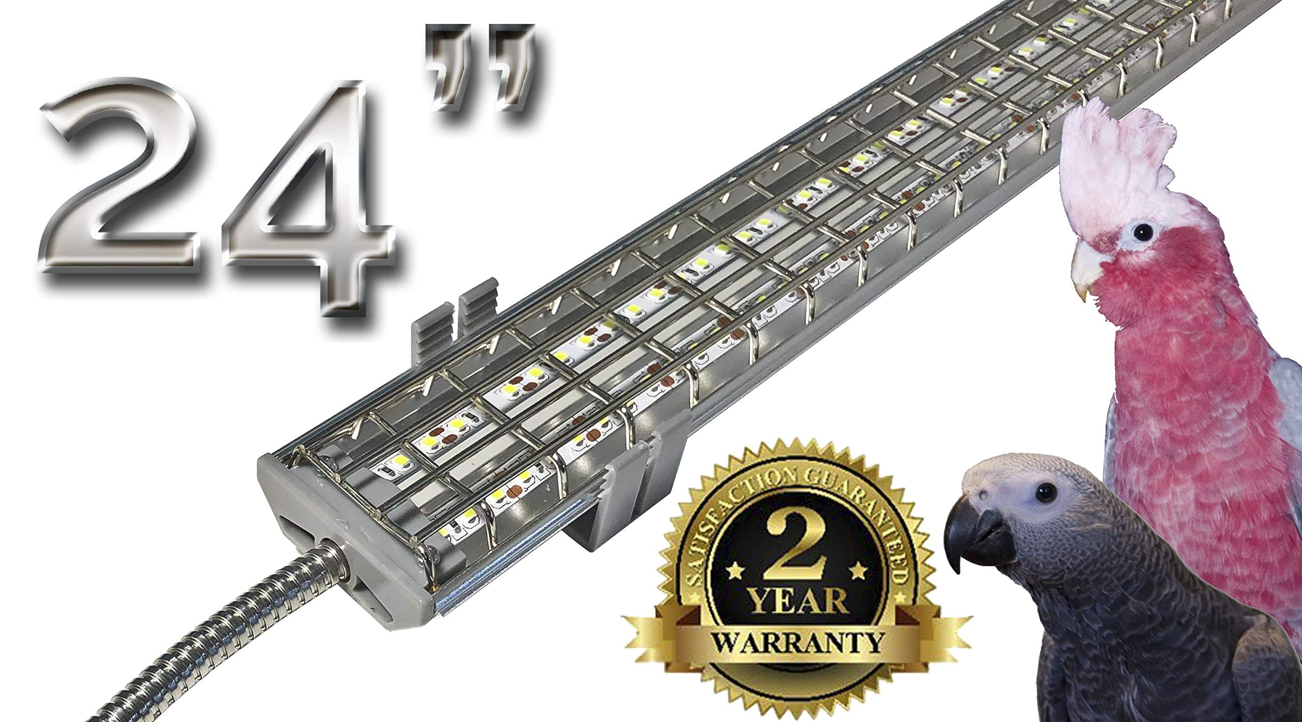 M&M Cage Company EZ PetLight with ChewGuard - 24 Inch LED, Full Spectrum for Parrots and Hook Billed Bird Cages by M&M Cage Company