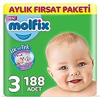 Molfix Bebek Bezi 3 Beden Midi Aylık Fırsat Paketi 188 Adet