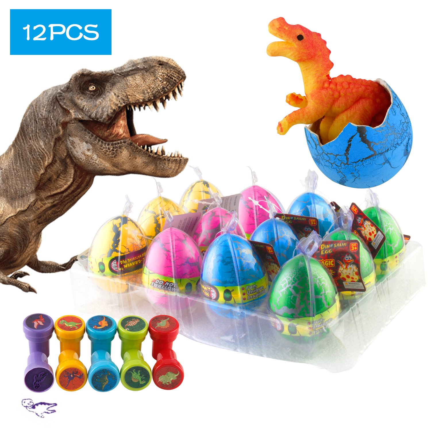 Kictero 12 Pcs Dinosaur Eggs with Bonus10 Pcs Dinosaur Stamps, Crack Easter Dinosaur Eggs That Hatch in Water, Grow Eggs with Dinosaur Figures Inside Toy for Boys / Girls, Birthday Party Favors