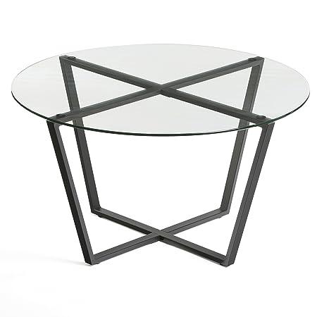 Mango Steam Metro Glass Coffee Table – Clear Top Black Base