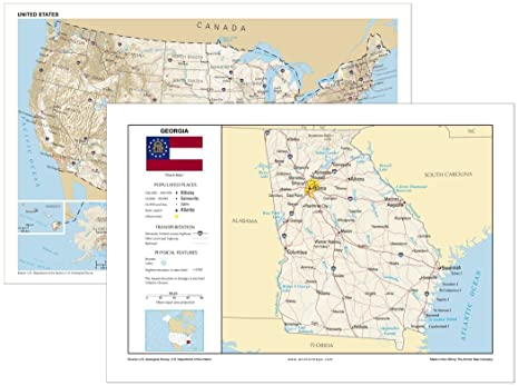 Map Of Georgia Showing Cities.Amazon Com 13x19 Georgia And 13x19 United States General Reference