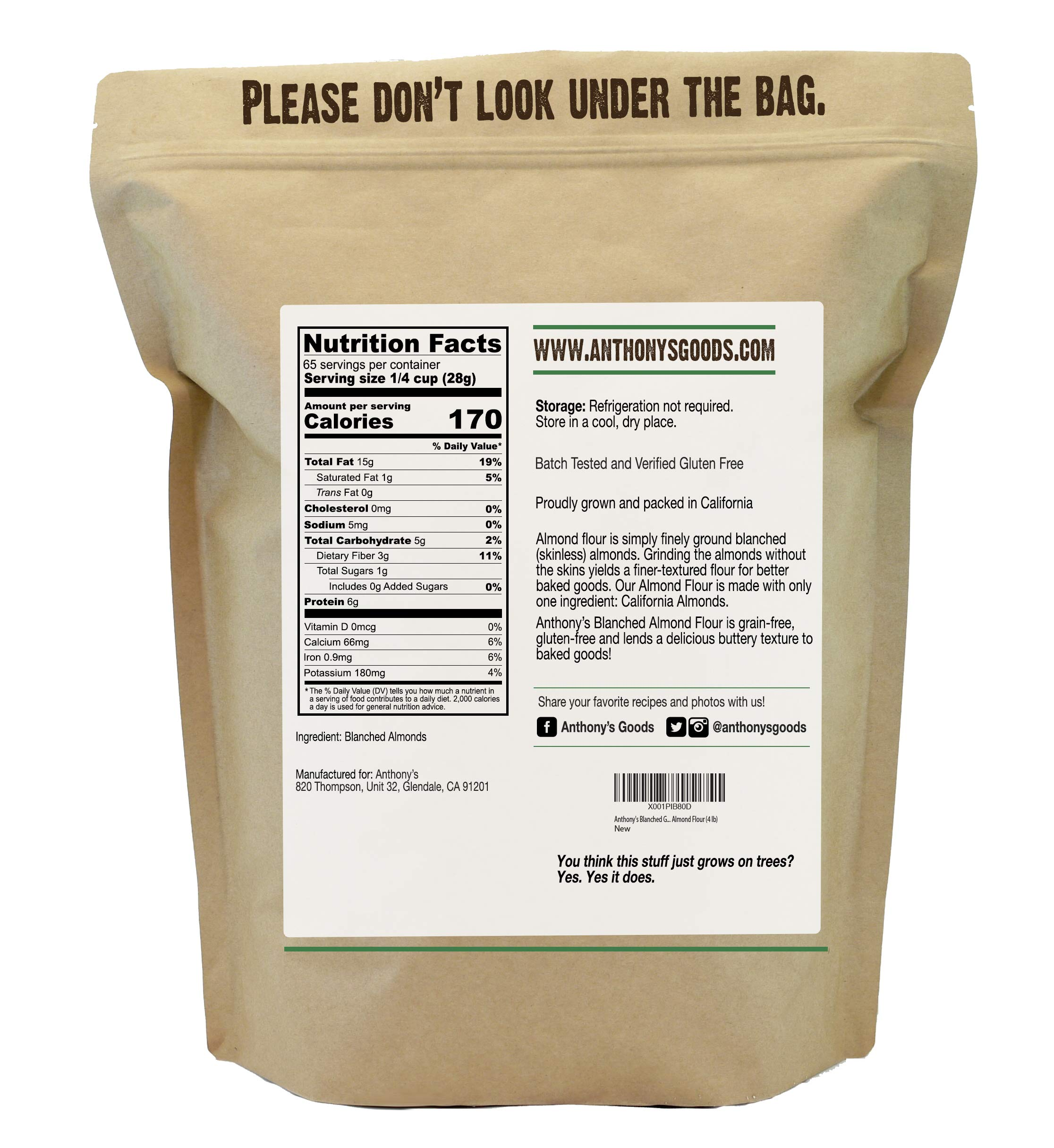Anthony's Blanched Gluten Free Almond Flour (4 lb) Gluten Free & Non-GMO by Anthony's (Image #2)