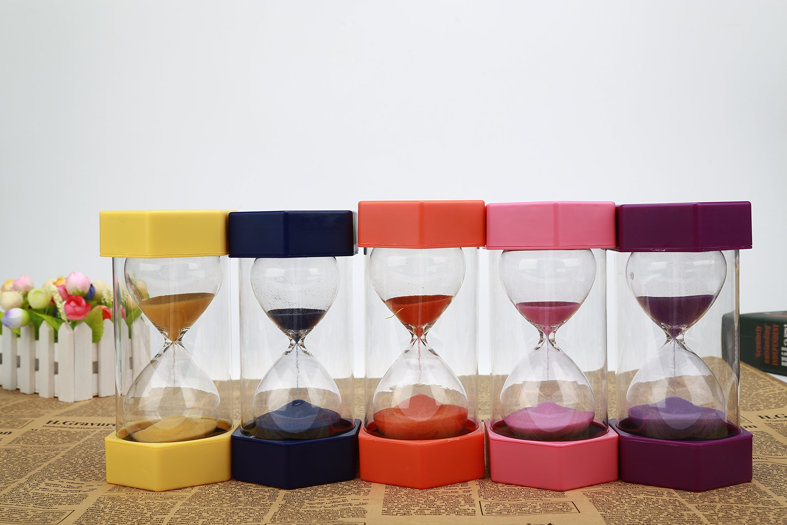 VEOLEY 10 Minute Sand Timer Security Fashion Hourglass for Kids, Classroom, Game,Kitchen,lunch-Pink by VEOLEY (Image #6)