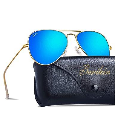 e5a60f232848 Berikin Classic Aviator Style Mirror Coating Sunglasses For Men Women 100%  UV400 Protection Blue Flash