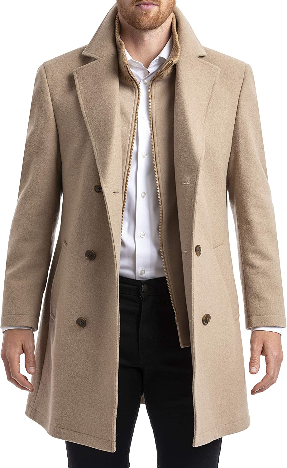 Chaps Mens Long Classic Double-Breasted Coat Camel 46L