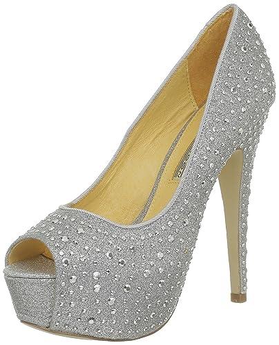 new product c023b d0873 Buffalo London Womens 112-2936-1 GLITTER Peep-Toe Silver ...