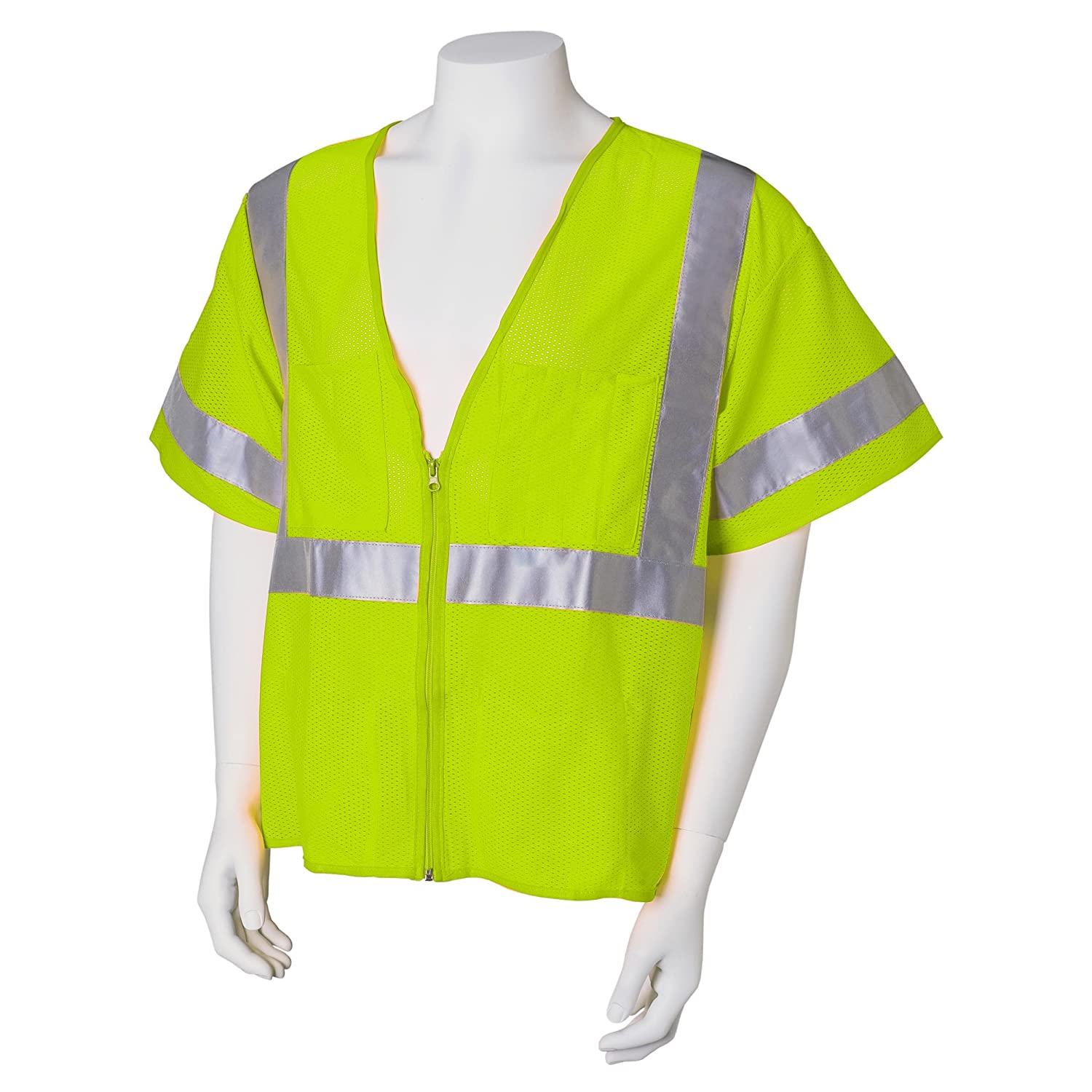 Jackson Safety ANSI Class 3 Deluxe Style Polyester Safety Vest with Lime Prismatic Kimberly-Clark Professional