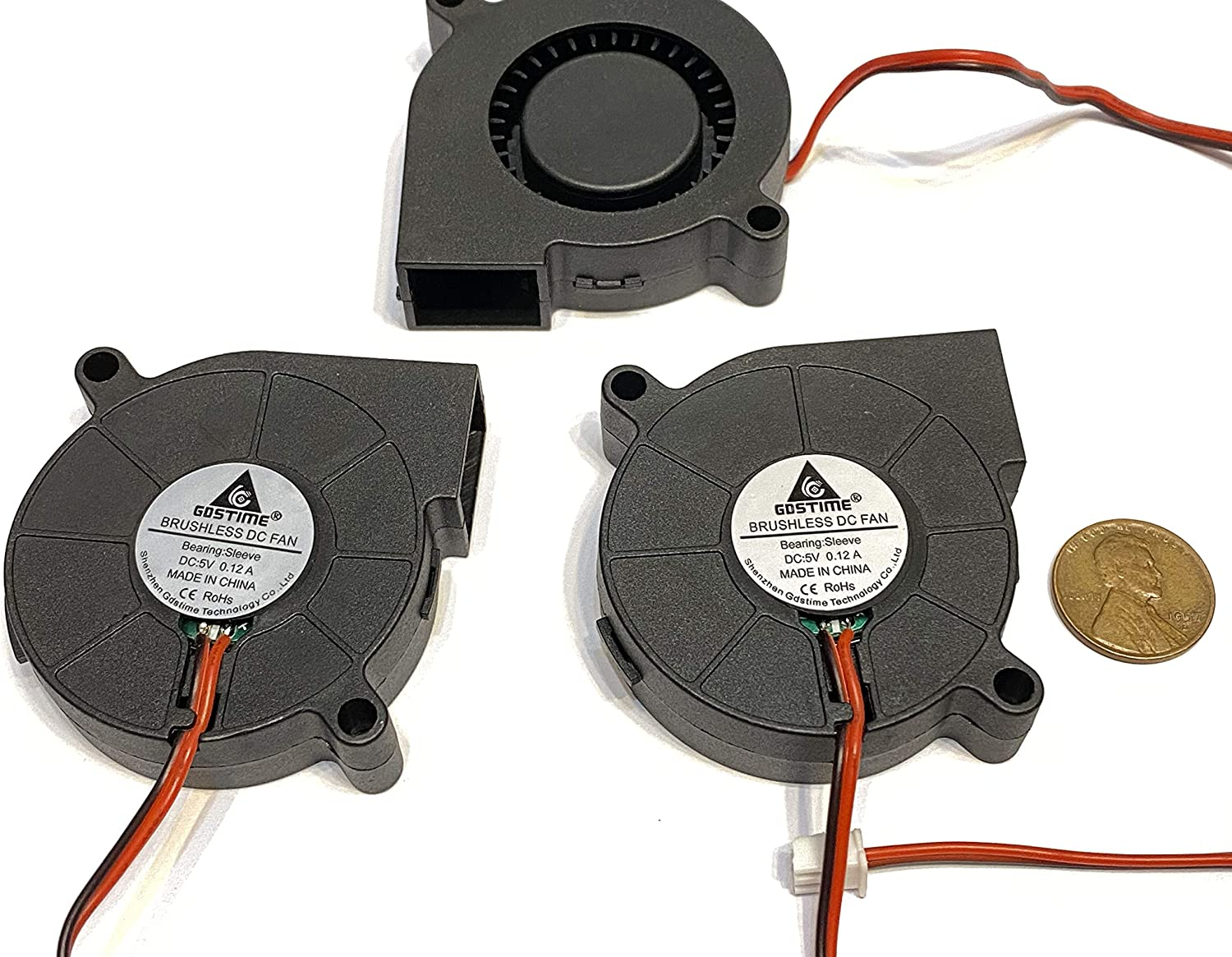 3 Pieces GDSTime Blower computer Fan 5V 2Pin 50mm 5015 50mm x 15mm 5cm A9