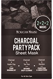 Morgan Miller Charcoal & Bamboo Sheet Mask, 5 counts Earth Science, Maximum Hydration, Hyaluronic Acid Serum, 1 fl oz(pack of 2)