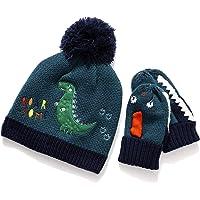Tacobear Gorro y guante Invierno Niños Conjunto Primavera Sombrero y Guante Gorros de Punto con Pompón Gorro Grueso…