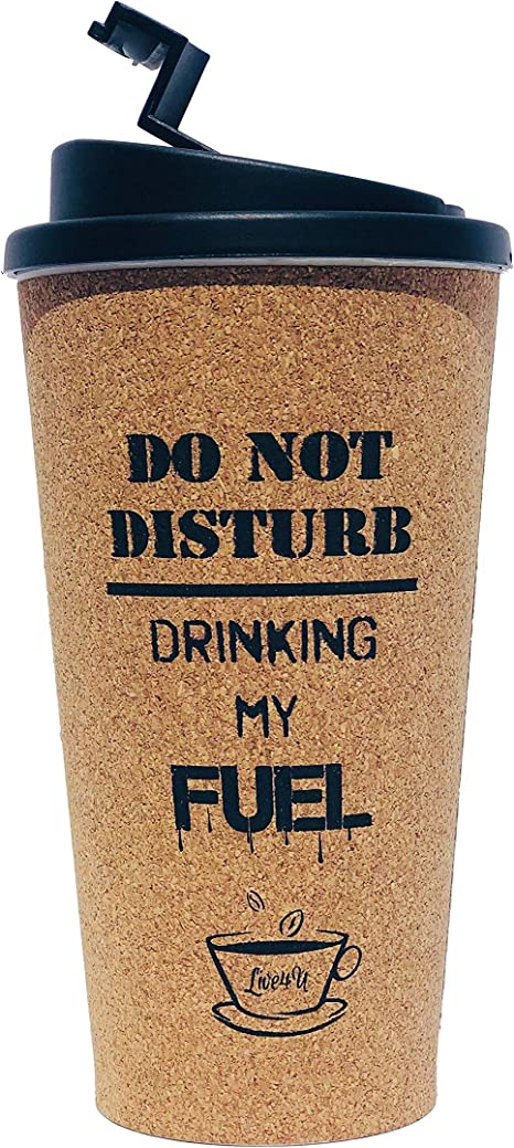Details about Cork Insulated Hot Cup 500ml Reusable Eco Friendly With Lid On The Go Coffee Tea