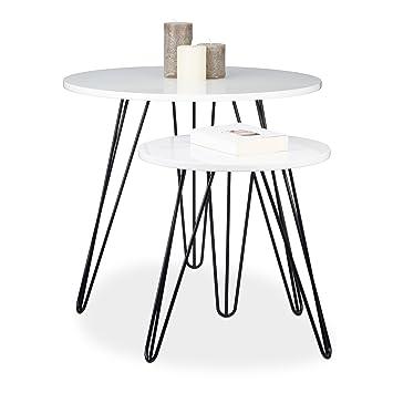 Relaxdays table dappoint blanche ronde lot de 2 bois et métal brillant laqué 3