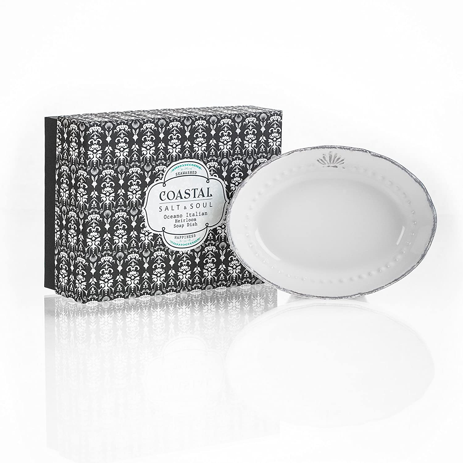 Amazon.com : Coastal Salt & Soul Oceano italian heirloom soap dish ...