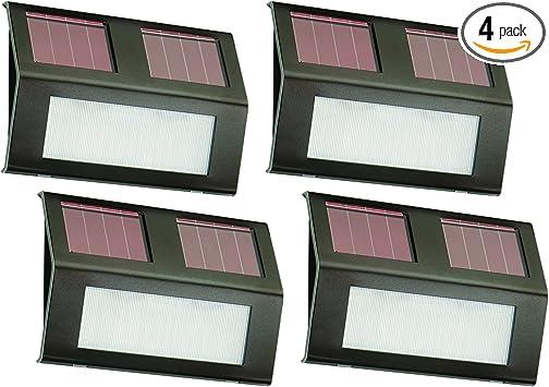 Nature Power 21062 Solar Powered Led Step Lights 4 Pack Bronze Patio Deck Lights