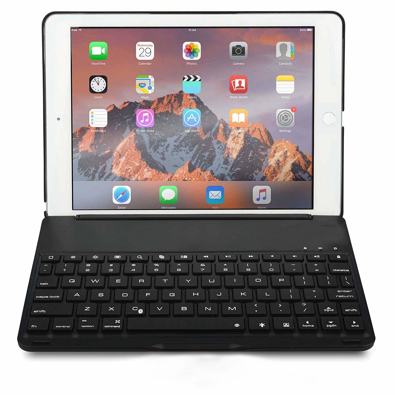 hszctech iPad Pro 9.7Custodia, tastiera wireless Bluetooth tastiera retroilluminata, 7colori Retroilluminazione Elegante Custodia protettiva rigida QWERTY tastiera illuminata per Apple iPad Pro 9.7Inch 2016