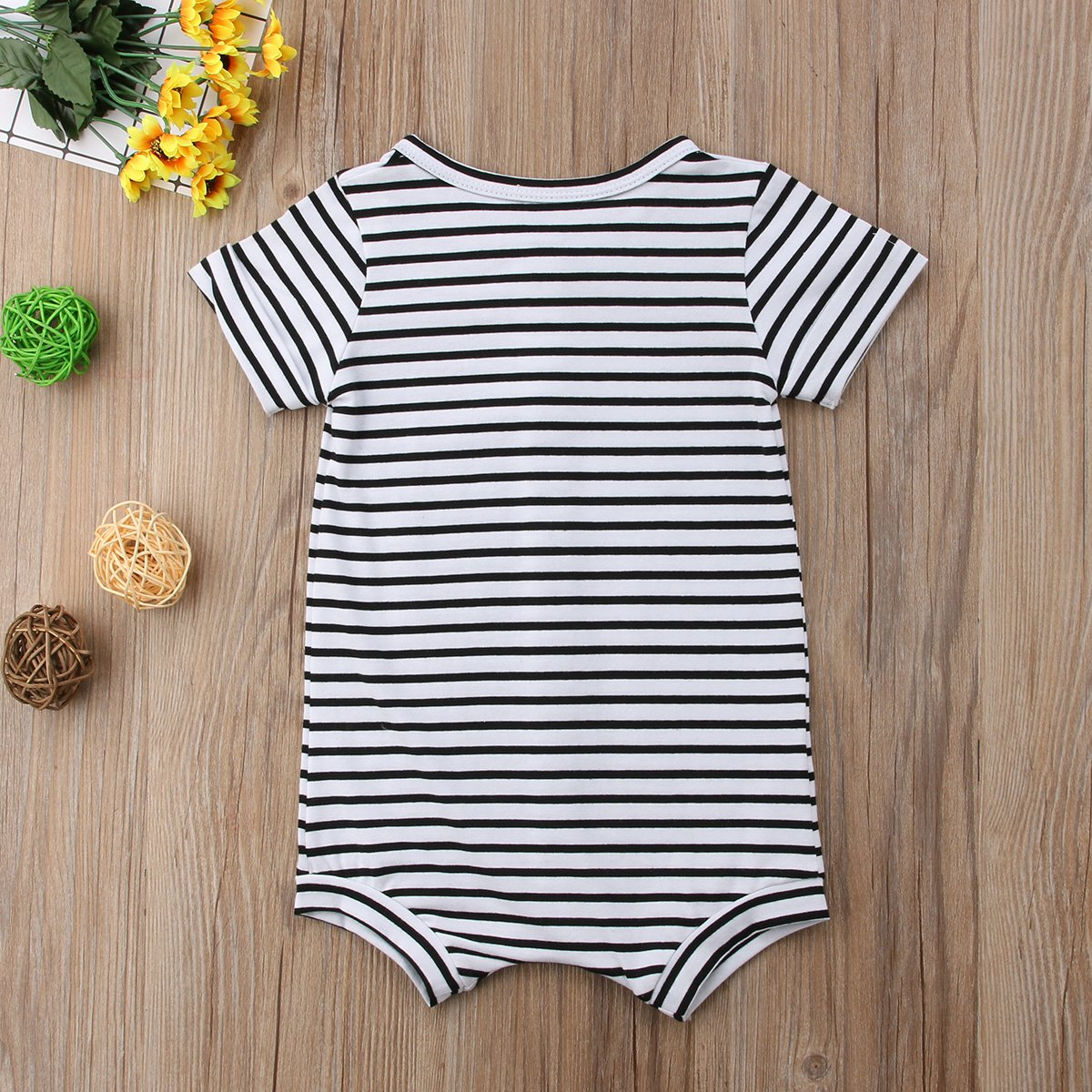 Urkutoba Baby Girls Romper Knitted Ruffle Long Sleeve Jumpsuit Baby Kids Girl Romper Autumn Winter Casual Clothing (0-6 Months, Striped&Buttons) by Urkutoba (Image #7)