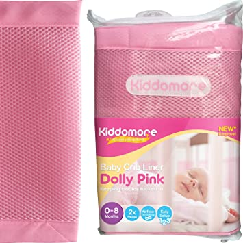 Kiddomore Breathable Airflow Rail Cover And Bumper Baby Mesh Crib Liner Dolly Pink