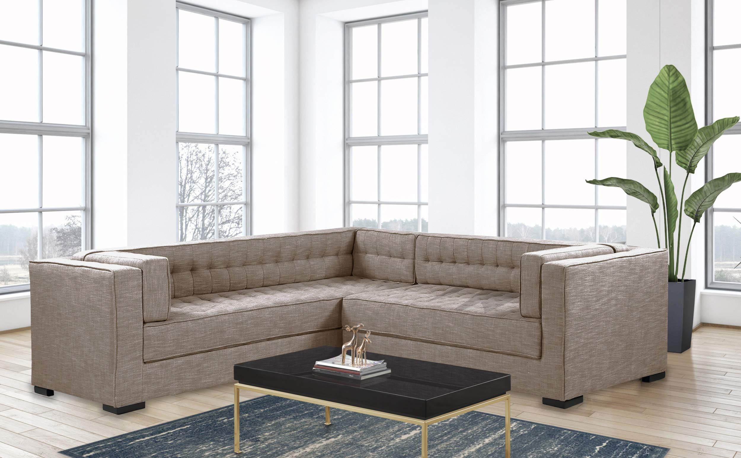 Iconic Home Lorenzo Right Facing Sectional Sofa L Shape Linen-Textured Upholstered Tufted Shelter Arm Design Espresso Finished Wood Legs Modern Transitional, Sand by Iconic Home