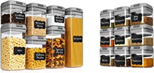 Shazo 7 Airtight Containers Set with 9 Airtight Spice Containers Bundle - Gray
