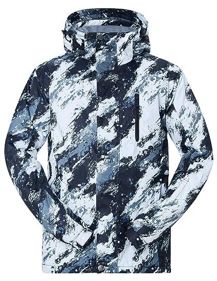 NEWISTAR Chaquetas de esquí para Hombre Desmontable con Capucha con Cremallera Impermeable a Prueba de Viento Respirable Traje de esquí Capa de Nieve