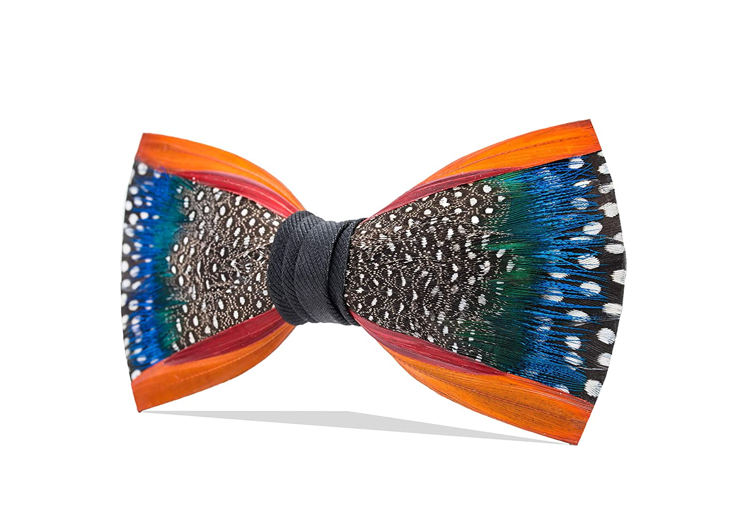 b4c97e95f636 Brackish Men's Mill Pond Handcrafted Pheasant/Guinea/Peacock Feather Bow Tie  (274-BRK) at Amazon Men's Clothing store: