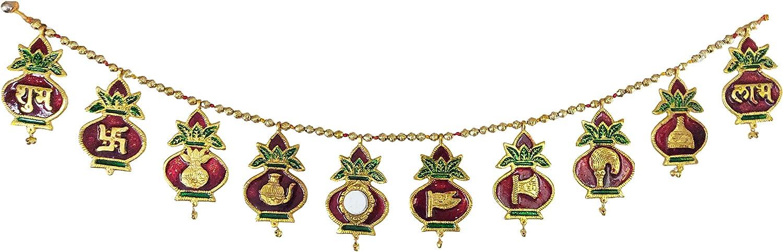 Divya Mantra Metal Meenakari Hindu Auspicious Symbol Swastik Kalash Shubh Labh Vastu Buri Nazar Battu Decor Gift Accessories/Good Luck Interior Home/Office/Door/Wall Hanging Toran Bandanwar Showpiece
