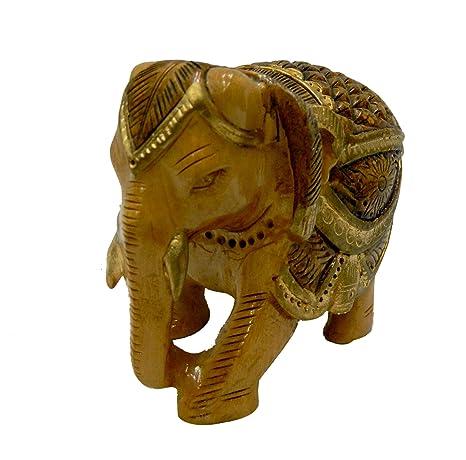 Amazon.com: BHARAT HAAT elefante de madera mediana artesanía ...