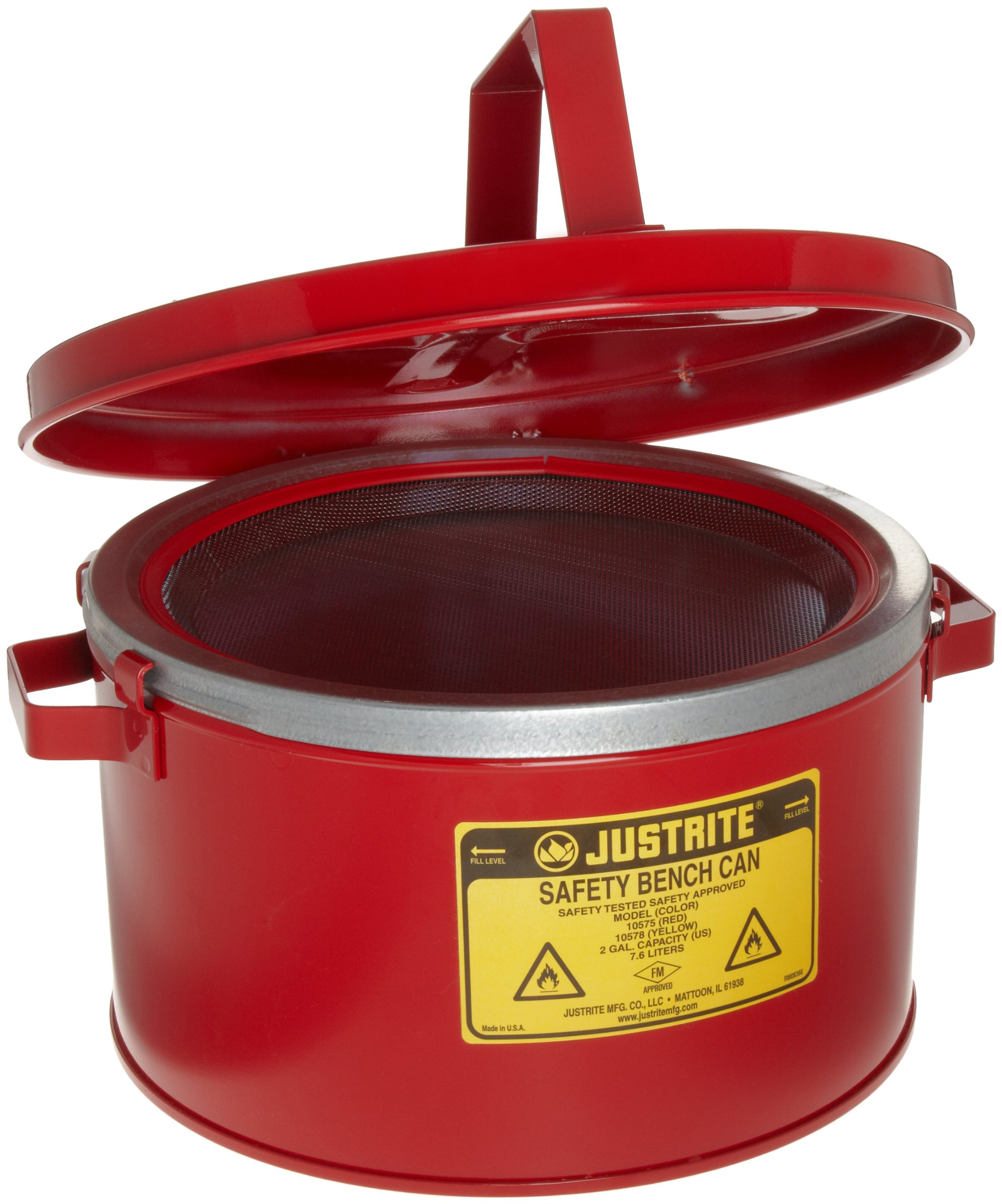 Justrite 10575 2 Gallon, 5 7/8'' H, 11 1/2'' O.D, 9 3/4'' Diameter, 24 Gauge Premium Coated Steel Bench Can