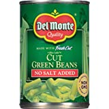 Del Monte Canned Fresh Cut Blue Lake No Salt Added Cut Green Beans, 14.5-Ounce (Pack of 24)