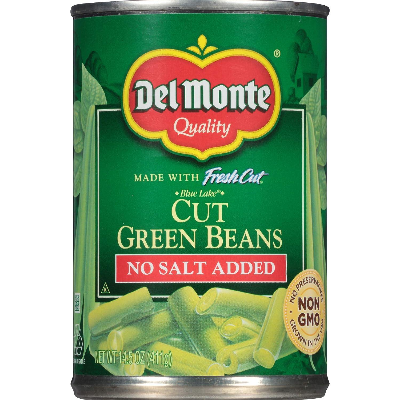 Del Monte Canned Fresh Cut Blue Lake No Salt Added Cut Green Beans, 14.5-Ounce