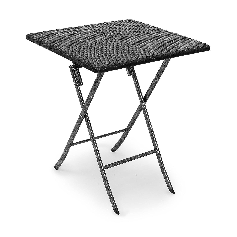 Relaxdays Gartentisch klappbar BASTIAN quadratisch H x B x T  74 x 61,5 x 61,5 cm, Metall, Kunststoff, Rattan-Optik, schwarz