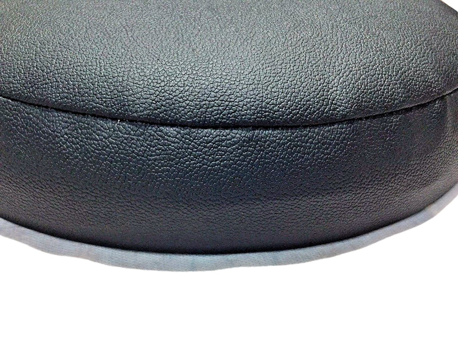 Bar Stool Covers 4 Less BAR STOOL COVER For Kitchen Pub Exam Office - EASY SLIP ON - Vinyl Replacement Seat Top With Extra Thin Padding & Elastic Band (15 inch Diameter, Black) by Bar Stool Covers 4 Less (Image #10)
