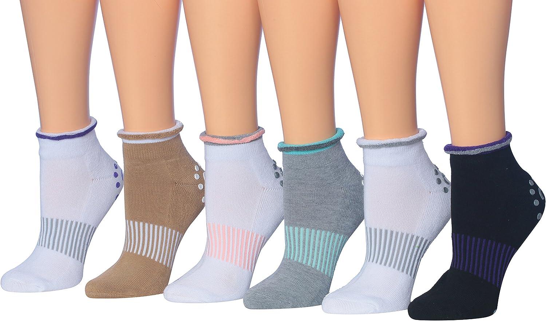 For Yoga Pilates /& Barre Ronnox Womens 6 Pairs Cushioned Anti-Skid Non-Slip Silicone-Gripper Socks